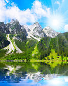 The Vorderer Gosausee alpine mountain lake — Stock Photo