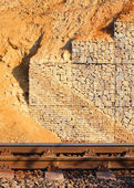 Stone wall - measure against erosion. Ecology building earth work. — 图库照片