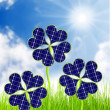 Solar energy panels from clover leaves. Environmental protection concept. — Stock Photo #33450549