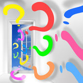 The door to unknown space. New way and decision concept. — Stock Photo