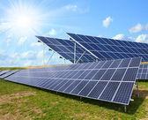 Solar energy panels against sunny sky. — Stock Photo