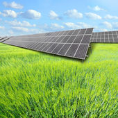 Solar energy panels against sunny sky. — Stock Photo