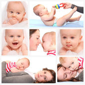 Kvinna med nyfött barn — Stockfoto