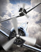 Fight on the sky. Vintage planes collage. Air war theme. — Stock Photo
