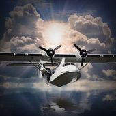 Flying Vintage seaplane — Stock Photo