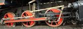 The steam locomotive on a railroad — Fotografia Stock