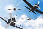 Vintage planes on a sunny sky. — Stock Photo
