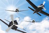 Vintage planes on a sunny sky. — Stock Photo