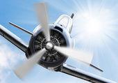 Vintage plane on a sunny sky. — Stock Photo