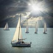 Sailboats on sea — Foto de Stock