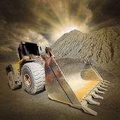 The loader excavator in a damaged landscape. Environmental concept. — Stock Photo