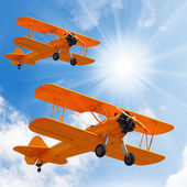 Retro style picture of the biplanes. — Stock Photo