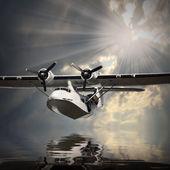 Seaplane over sea — Stock Photo