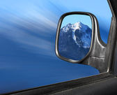 View mirror winter mountain scenery — Stock Photo