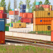 Big container terminal on a railroad — Stock Photo