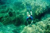 Free diver on bottom — Stock Photo
