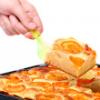 Hand with fresh apricot cake. — Stock Photo