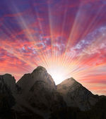 Beautiful sunset over a high mountains. Alps, Salzkammergut, Austria, Europe. — Stock Photo