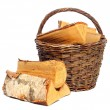 Basket of cut logs fire wood from Silver Birch tree — Stock Photo