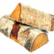 Stack of cut logs fire wood from Silver Birch tree — Stock Photo