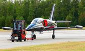 Aero L- 39 Albatros and maintenance vehicle — Stock Photo