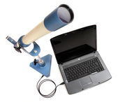 Inverting telescope with laptop — Zdjęcie stockowe