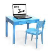 Blue chair and table with laptop. — Stock Photo