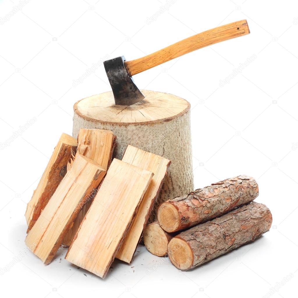 Fire wood and old axe — stock photo vladvitek