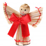 Handmade christmas decoration angel from straw — Stock Photo