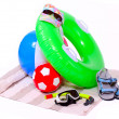 UV protection equipment and floating water toys on a white background. — Stock Photo #33804703