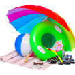UV protection equipment and floating water toys on a white background. — Stock Photo