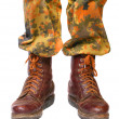 Stock Photo: Soldier legs in old army paratroopers combat boots