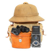 Vintage articles for travelers to the tropics. — Foto de Stock