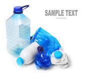 Group of empty plastic bottles. Environmental concept - waste recycling. — Stock Photo