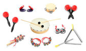 Great collection of a percussion instruments for a carnival musicians. — Stock Photo