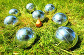 The bocce balls on a green grass — Stock Photo