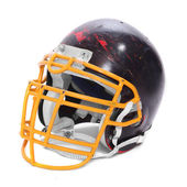 Old scratched football helmet — 图库照片