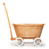 Rustic baby pram from czech countryside. — Stock Photo