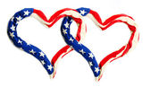 Heart frame make out of American Flag — Stock Photo