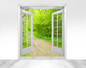 Opened door to early morning in green forest — Stock Photo