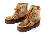 Vintage boots make from seal skin — Stock Photo