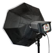 Studio flash with soft-box — Stock Photo