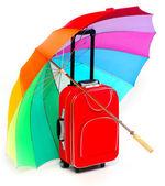 Travel bag and umbrella — 图库照片