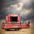 Combine harvesting wheat against dramatic sky. — Stock Photo