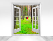 Window view in Forest — Stock Photo