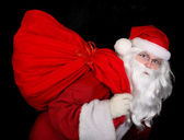 Santa con borsa — Foto Stock