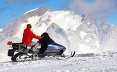 Man on a snowmobile — Stock Photo