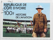 A stamp printed in The Ivory Coast shows The aviator Ross Smith — Stock Photo