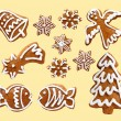 Stock Photo: Set of gingerbread cookies