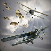 Biplanes with airborne infantry. — Stock Photo